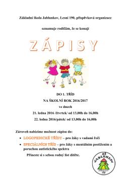 Pozvánka zápisy ZŠ Jablunkov 2016