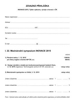 ZÁVAZNÁ PŘIHLÁŠKA I. 22. Mezinárodní sympozium