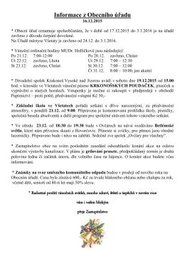 Informace z Obecního úřadu 16.12.2015