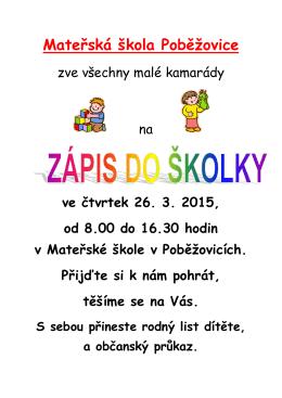 Zápis Plakát - mspobezovice.cz