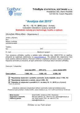 Přihláška na seminář  - TriloByte Statistical Software
