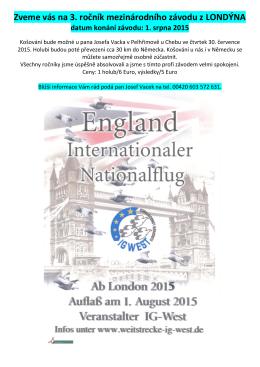 Zveme vás na 3. ročník mezinárodního závodu z LONDÝNA