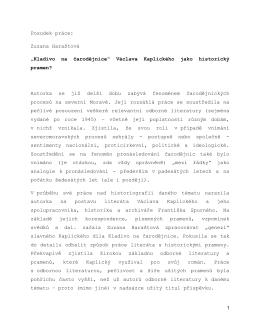"""Posudek práce: Zuzana Haraštová """"Kladivo na"""