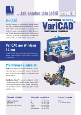 VariCAD VariCAD pro Windows i Linux Průmyslové standardy