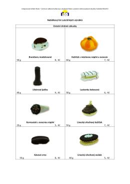 Nabídkový list cukrářských výrobků Ostatní drobné zákusky