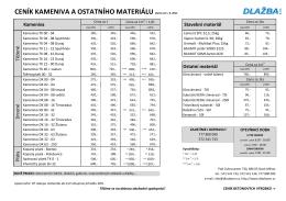 CENÍK KAMENIVA A OSTATNÍHO MATERIÁLU platný od 1. 8. 2015