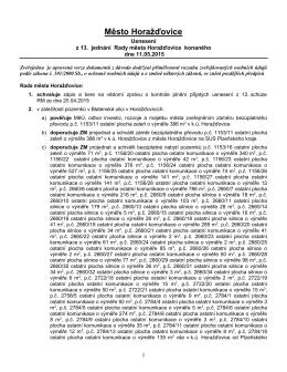 Usnesení z 13. jednání Rady města v Horažďovicích konaného dne