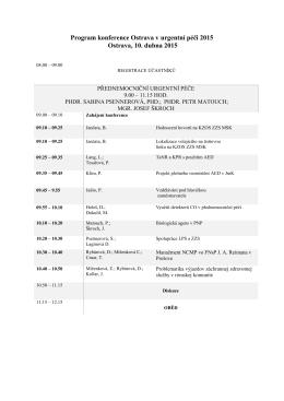 Program konference Ostrava v urgentní péči 2015