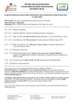 Program konference pracovníků nelékařských zdravotnických
