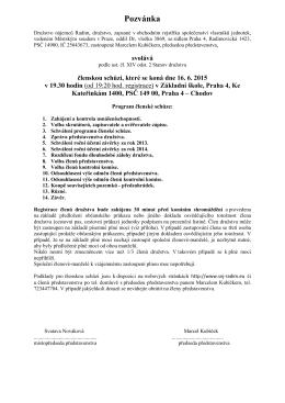 Pozvánka na členskou schůzi 16.6.2015