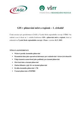 GIS v plánování měst a regionů – 1. cirkulář