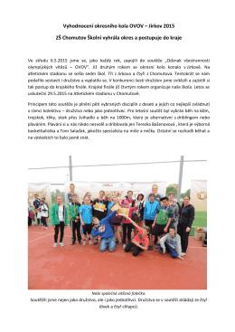 Vyhodnocení okresního kola OVOV - Základní škola Chomutov, Školní
