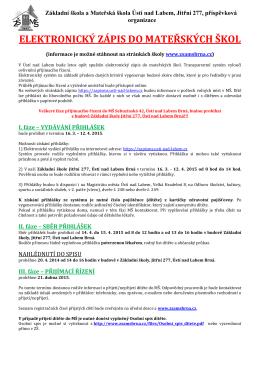 Zápis dětí do mateřské školky pro šk. rok 2015/2016