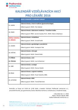 kalendář vzdělávacích akcí pro lékaře - Podhorská nemocnice