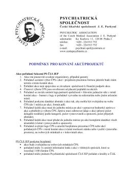 Podmínky pro konání akcí - Psychiatrická společnost ČLS JEP a