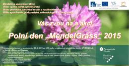 """Vás zvou na a akci Polní den """"MendelGrass"""" 2015"""