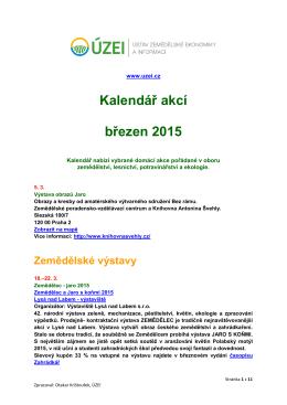 Kalendář akcí březen 2015
