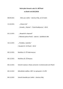 Roční plán činností a akcí 31.MŠ