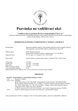 Pozvánka na vzdělávací akci - Česká společnost nukleární medicíny
