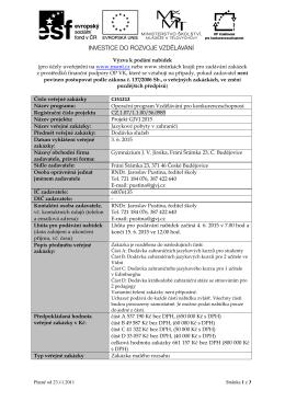 Výzva k podání nabídek (pro účely uveřejnění na www.msmt.cz