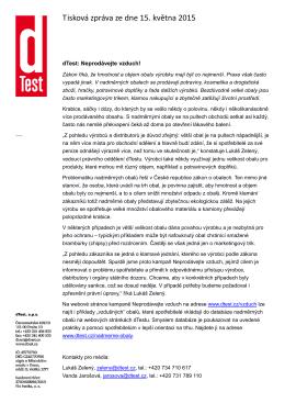 Tisková zpráva ze dne 15. května 2015