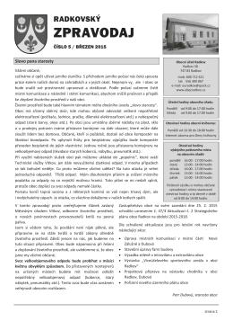 Radkovský zpravodaj č.5 Březen 2015