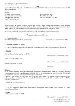 Zápis z jednání RM dne 26.10.2015