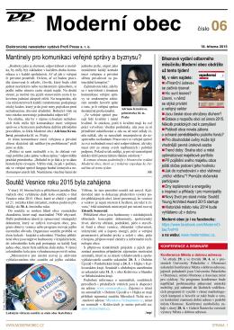 Newsletter č. 6 měsíčníku Moderní obec z 18.3.2015