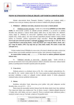 Pokyny ke stravování - Střední zdravotnická škola Šumperk, Kladská 2