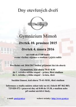 Dny otevřených dveří Gymnázium Mimoň