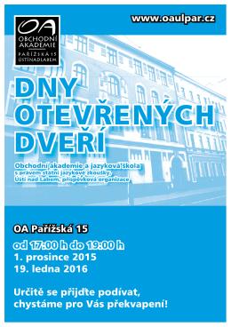 Dny otevřených dveří - Obchodní akademie a jazyková škola s