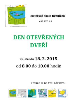 Den otevřených dveří v mateřské škole Rybníček