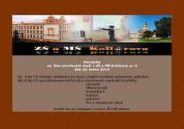 Pozvánka na Den otevřených dveří v ZŠ a MŠ Kollárova ul. 4 dne 20