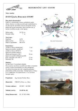 Referenční list stavby - II/418 Újezd u Brna most 418-005