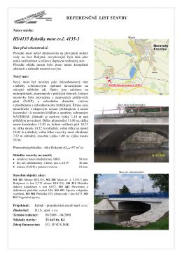 Referenční list stavby - III/4135 Rybníky most ev. č. 4135-3