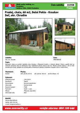 Prodej, chata, 60 m2, Dolní Peklo - Kraskov Seč, okr
