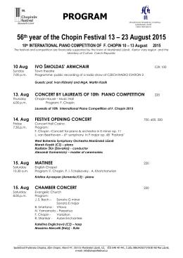 23 August 2015 - Program - KIS Mariánské Lázně sro