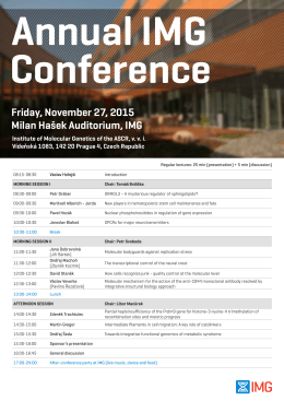 Friday, November 27, 2015 Milan Hašek Auditorium, IMG