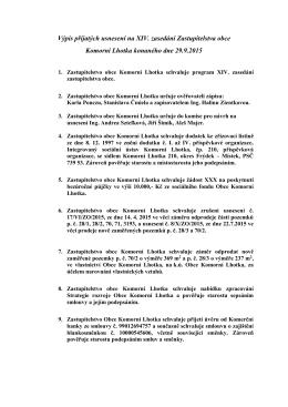 Výpis přijatých usnesení na XIV. zasedání Zastupitelstva obce