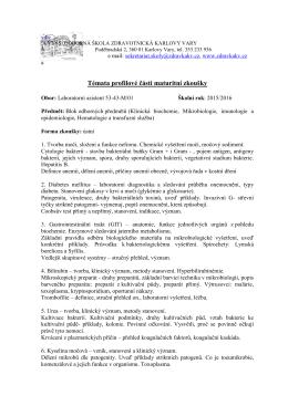 Blok odborných předmětů (Klinická biochemie