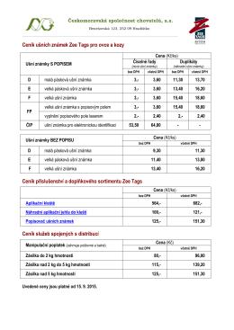 Ceník - ušní známky Zee Tags pro ovce a kozy platný od 15. 9. 2015