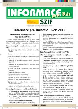 Informace pro žadatele - SZP 2015