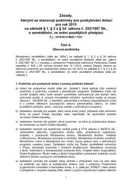 Zásady, kterými se stanovují podmínky pro poskytování dotací pro