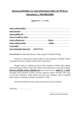 Závazná přihláška na příměstský tábor 2010 na