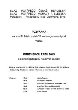 Pozvanka - Svaz potápěčů České republiky