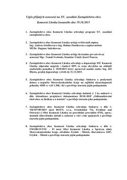 Výpis přijatých usnesení na XV. zasedání