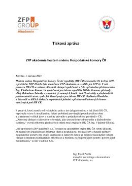 Tisková zpráva ZFP akademie hostem sněmu Hospodářské komory
