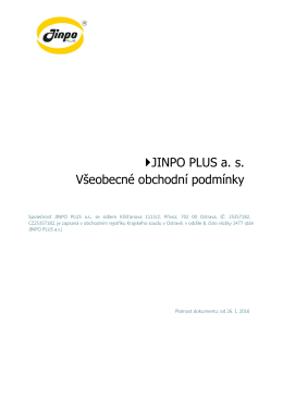 JINPO PLUS a. s. Všeobecné obchodní podmínky