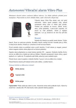 Uživatelský manuál vibračního alarmu Vibro Plus