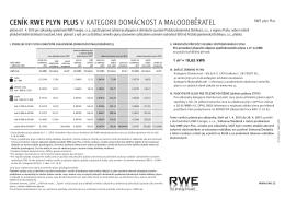 cenÍK RWe plyn plUS v kategorii Domácnost a malooDběratel